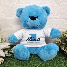 1st Birthday Bear Bright Blue Plush 30cm