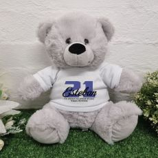 21st Birthday Bear Grey Plush 30cm
