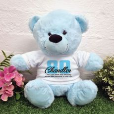 80th Birthday Personalised Birthday Bear Light Blue 30cm