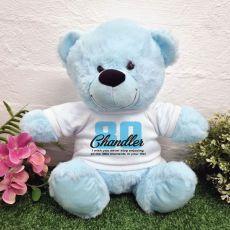80th Birthday Bear Light Blue Plush 30cm