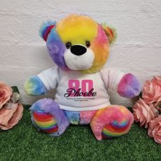 80th Birthday Bear Rainbow plush 30cm