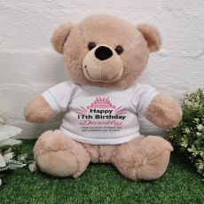 Personalised Birthday Bear Cream Plush 30cm