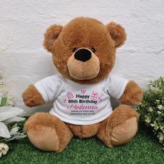 80th Birthday Party Bear Brown Plush 30cm