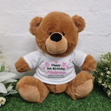 Personalised Birthday Bear Brown Plush 30cm
