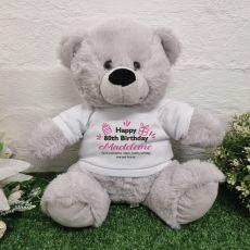 80th Birthday Bear Grey Plush 30cm