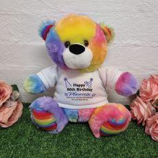 80th Birthday Party Bear Rainbow Plush 30cm