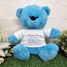 Baptism Bear Bright Blue Plush 30cm