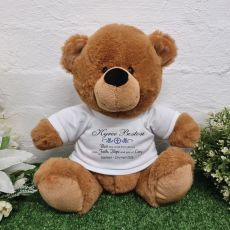 Baptism Personalised Bear Brown Plush 30cm