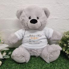Baptism Personalised Bear Grey Plush 30cm