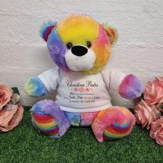 Christening Personalised Bear Rainbow Plush 30cm