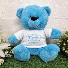 Get Well Soon Bear Bright Blue 30cm