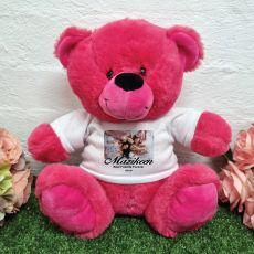 Personalised Photo Bear Hot Pink 30cm