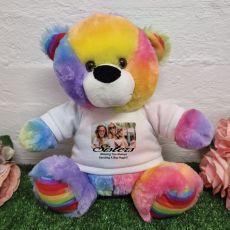 Personalised Photo Bear Rainbow 30cm