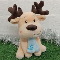1st Christmas Baby Reindeer Blue