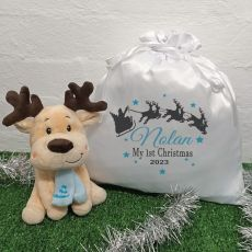 1st Christmas Boy Reindeer & Christmas Sack