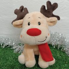 Christmas Baby Reindeer Red Plush