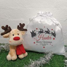 Christmas Reindeer & Christmas Sack - Red Sleigh