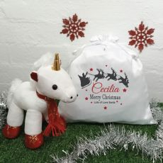 Christmas Unicorn & Christmas Sack - Sleigh