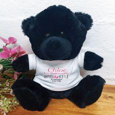 Personalised Baby Birth Details Bear Black Plush