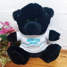 Personalised 21st Birthday Bear Black Plush