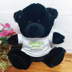 Personalised 40th Birthday Bear Black Plush