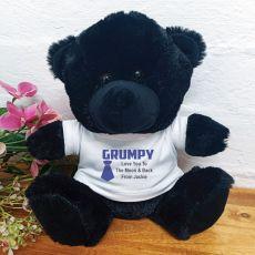 Personalise Grandpa Bear Black Plush