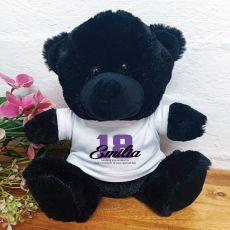 18th Birthday Teddy Bear Black Plush