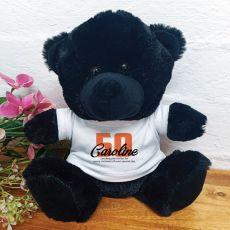 50th Birthday Teddy Bear Black Plush