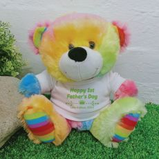 1st Fathers Day Personalised Bear Rainbow