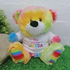 Big Sister Personalised Teddy Bear Rainbow Plush