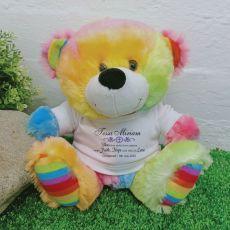Personalised Christening Teddy Bear - Rainbow