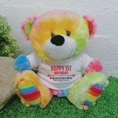 1st Birthday  Personalised Teddy Bear Rainbow Plush