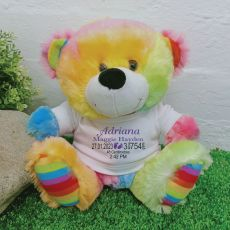 Personalised Baby Birth Details Teddy Bear Rainbow