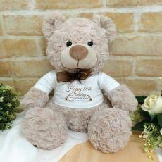 80th Birthday Teddy Bear Shaggy Brown