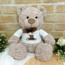 Personalised 1st Birthday Bear Shaggy Brown