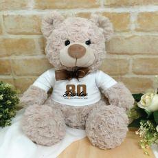 Personalised 80th Birthday Bear Shaggy Brown