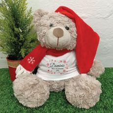 Personalised Christmas Bear Shaggy Brown - Snowflake