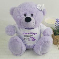 Personalised Angel Memorial Teddy Bear - Lavender