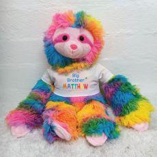 Personalised Big Brother Rainbow Sloth Plush