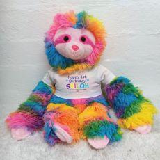 1st Birthday Personalised Rainbow Sloth Plush