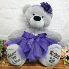 Personalised Ballerina Teddy Bear 40cm Plush Grey