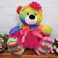 Personalised Ballerina Teddy Bear 40cm Plush Rainbow