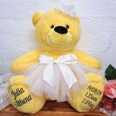 Baby Teddy Bear 40cm Plush Yellow Ballerina