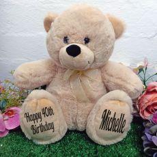 40th Personalised Teddy Bear 30cm Cream