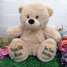 50th Personalised Teddy Bear 30cm Cream