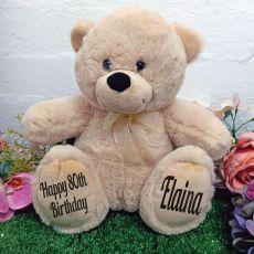 80th Personalised Teddy Bear 30cm Cream