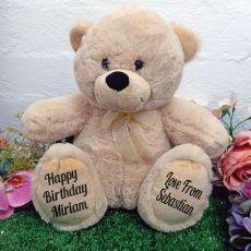 Birthday Personalised Teddy Bear 30cm Cream