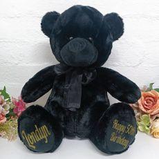 Personalised 50th Birthday Bear 40cm Black Plush