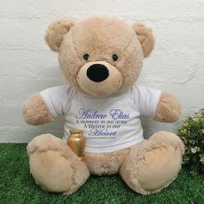 Memorial Bear with Gold Urn Cream 40cm