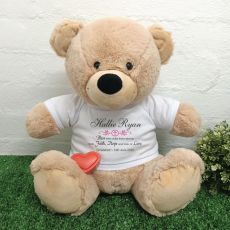 Voice Recordable Christening Bear with T-Shirt - Cream 40cm